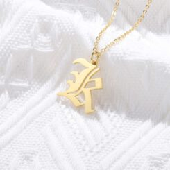 14k Gold Old English Initial Necklace
