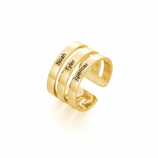3 Name Ring Gold