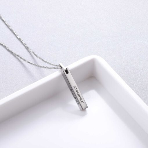 3D Bar Necklace Silver with Roman Numeral Date