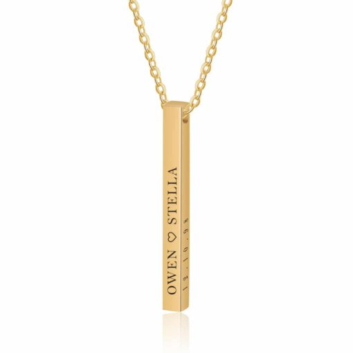 4 Sides Bar Necklace Gold