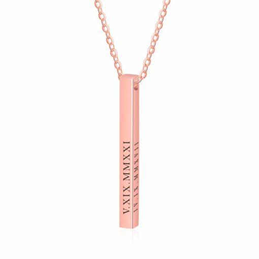 4 Sides Bar Necklace Rose Gold