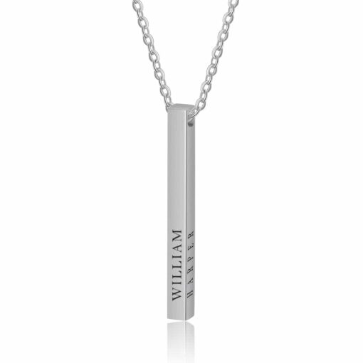 4 Sides Bar Necklace Silver Roman Numeral Date