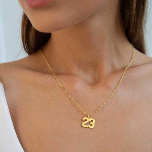 Baseball Number Necklace Gold
