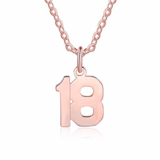 Baseball Number Necklace Rose Gold