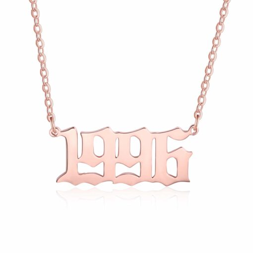Birth Year Necklace Rose Gold Number Pendant