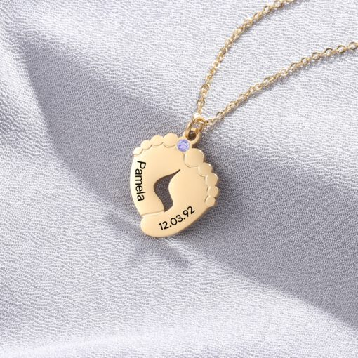 Birthstone Necklace for Mom with Name and Date