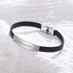 Black Leather Bracelet For Men