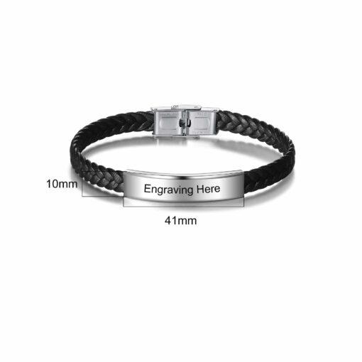 Black Leather Bracelet For Men Size Material