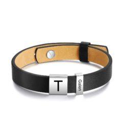 Black Leather Name Bracelet For Men