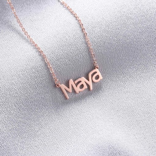 Block Name Necklace Rose Gold