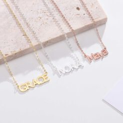 Block Name Necklace Silver Gold Rose Gold