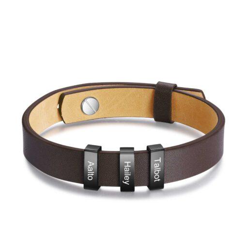 Brown Leather Bracelet Engraved Bracelets For Men