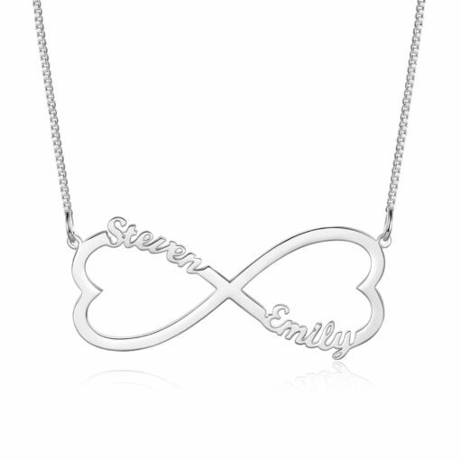 Couple Initial Necklace Sterling Silver