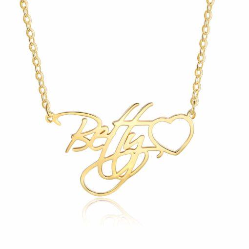 Cursive Name Necklace 14k Gold