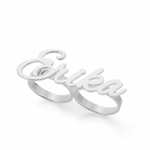 Double Finger Ring Silver Two Finger Ring