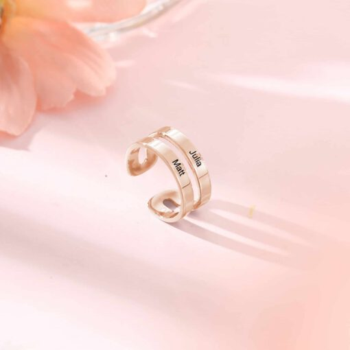 Double Name Ring Rose Gold