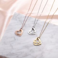 Engrave Mother Necklace With Two Hearts