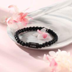 Engraved Black Onyx Bracelet for Men