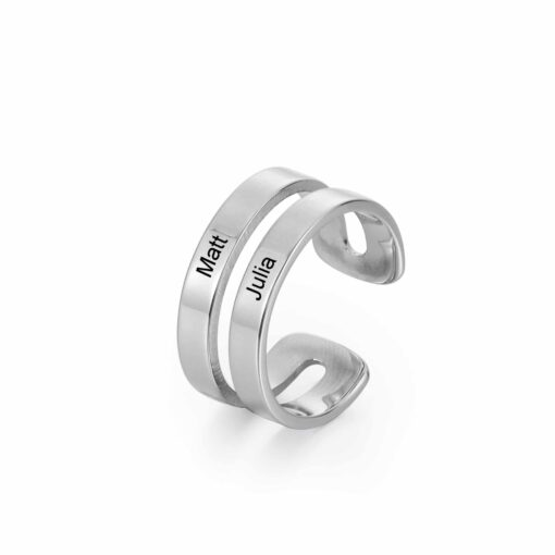 Engraved Two Name Ring