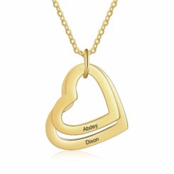 Family Heart Name Necklace For Mom Gold
