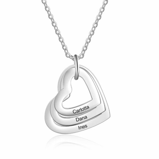 Family Heart Name Necklace For Mom Silver 3 Hearts