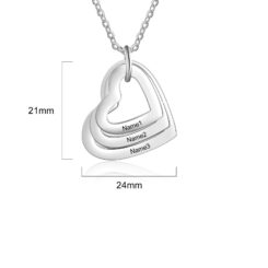 Family Heart Name Necklace For Mom Silver 3 Hearts Size Materials