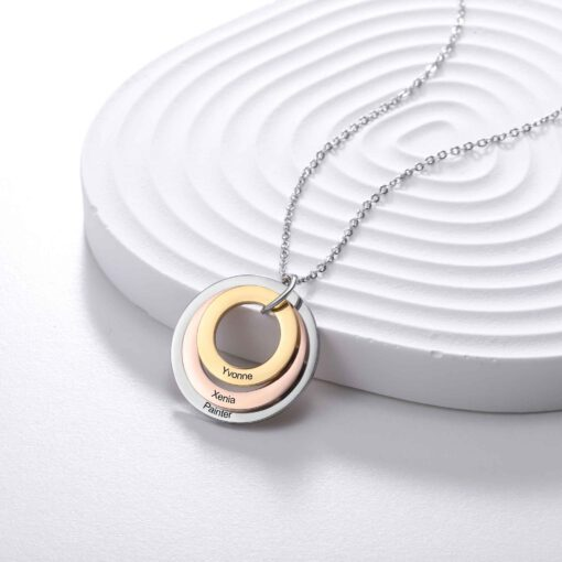 Family Mother Necklace With Engraved Kids Names