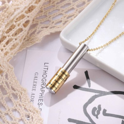 Family Necklace With Engraved Kids Names Gold