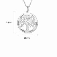 Family Tree Necklace With Names Size Materials