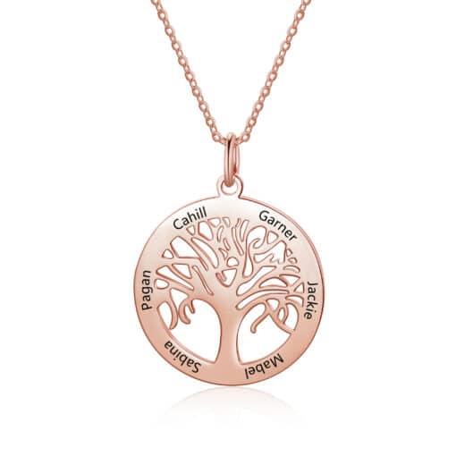 Family Tree Pendant Rose Gold For Mom