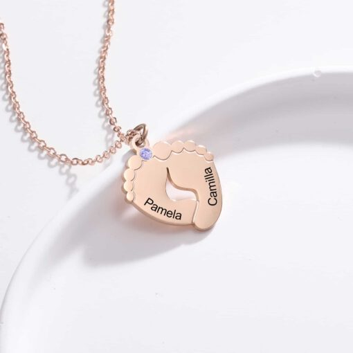 Footprint Birthstone Necklace