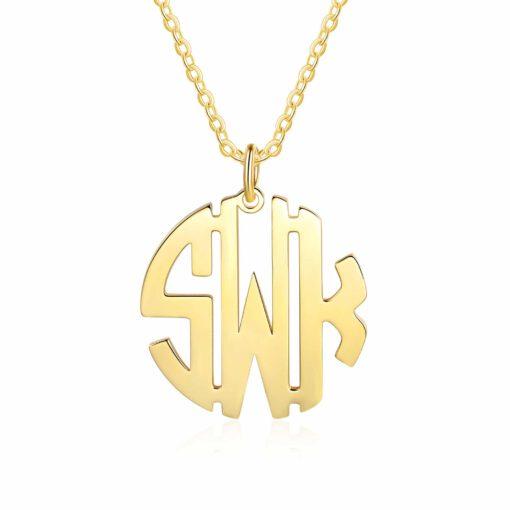 Gold Block Letter Monogram Necklace