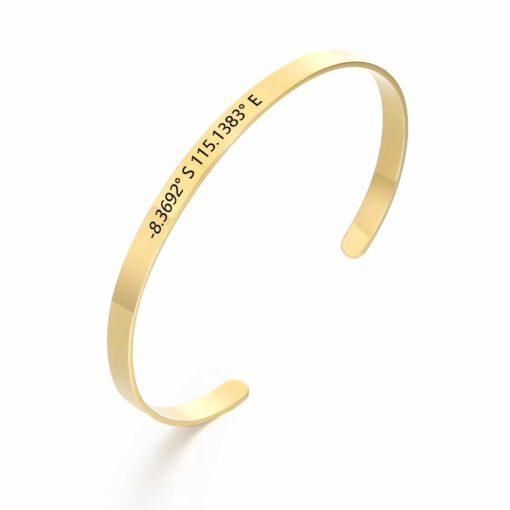 Gold Coordinate Bangle Bracelet