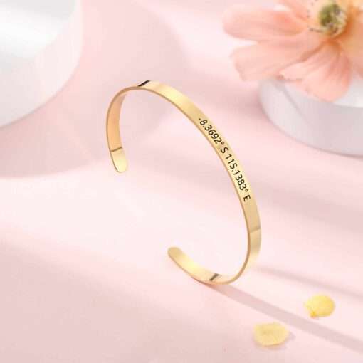 Gold Engraved Bangle With Name