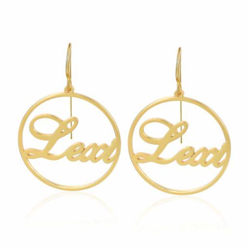 Gold Hoop Name Earrings