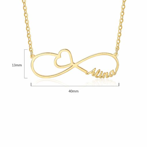 Gold Infinity Name Necklace Size Material