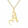 Gold Initial Necklace Gothic