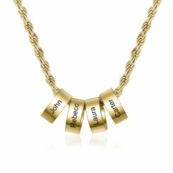 Gold Mom Charm Necklace With 1-8 Names