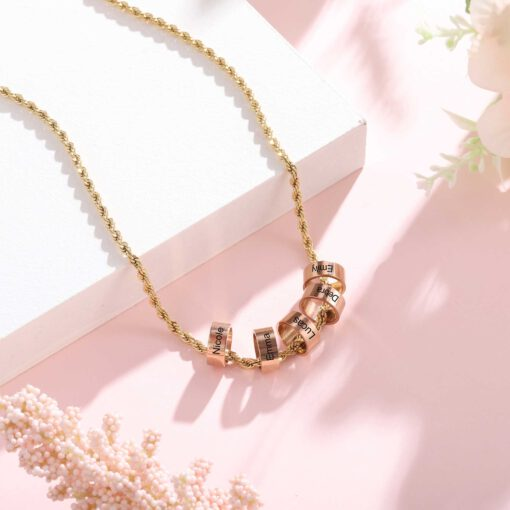Gold Mother Necklace With Kids Names