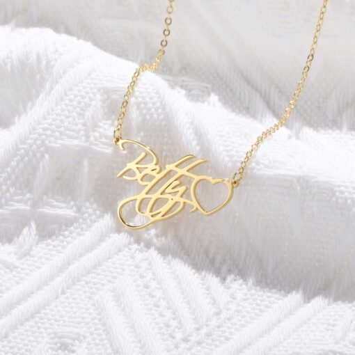 Gold Necklace With Name In Cursive Gold
