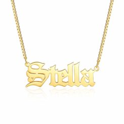 Gold Old English Name Necklace