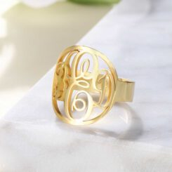 Gold Plated Initial Monogram Ring