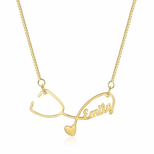 Gold Stethoscope Necklace with Name