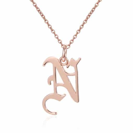 Gothic Font Initial Necklace