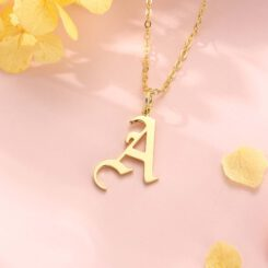 Gothic Initial Necklace Gold