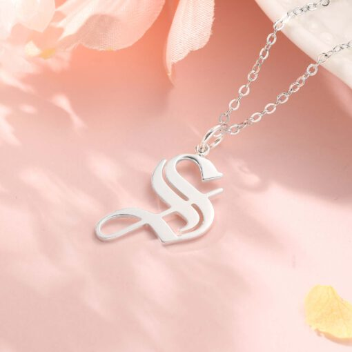 Gothic Initial Necklace Sterling Silver
