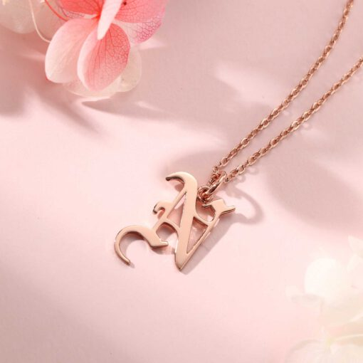 Gothic Letter Necklace Rose Gold