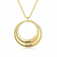 Grandma Necklace with Grandkids Names Gold