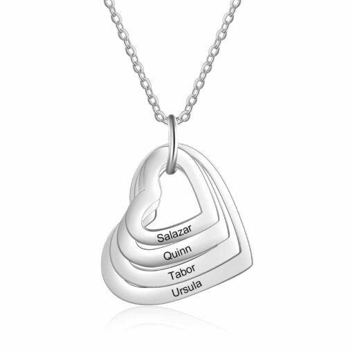 Grandmother Necklace 4 Heart Silver