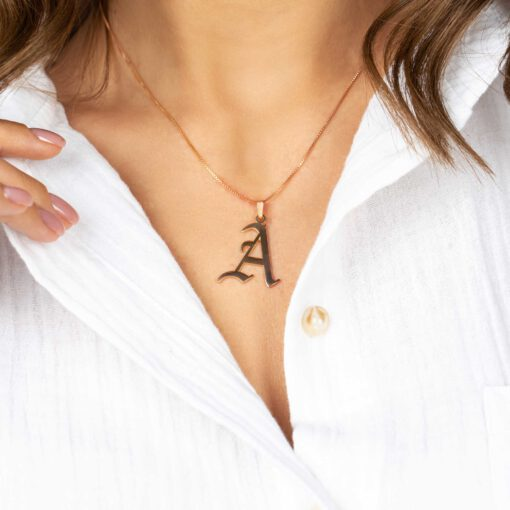 Hand Made Gothic Initial Necklace Model